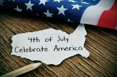 Text 4th of July Celebrate America and American flag stock image
