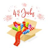 Text 4th of July and fireworks in a box. Text 4th of July and set of colorful fireworks in a box for Independence Day, isolated on white background, illustration Royalty Free Stock Photography