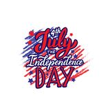 Text 4th of July. Happy Independence day lettering quote for banner, card, website. Apparel print design with national flag. vector illustration