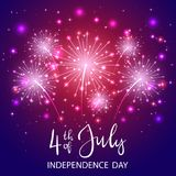 Independence day and violet firework. Text 4th of July and Independence day with shiny fireworks and stars on violet background, illustration royalty free illustration