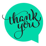 Text thank you on green background. Calligraphy lettering Vector illustration EPS10 royalty free illustration