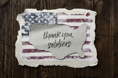 Text thank you soldiers and flag of USA Stock Photo