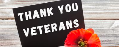 the text thank you veterans written in a chalkboard and red poppy on a rustic wooden background. banner
