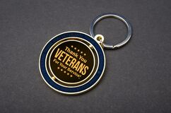 Text of thank you veterans for your service on badge with copy space