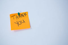 Text thank you written on adhesive note Stock Photo