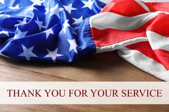 Text THANK YOU FOR YOUR SERVICE and USA flag