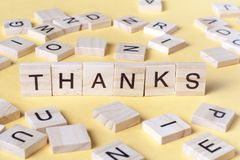 Text of THANKS on wooden cubes. Wood abc royalty free stock images