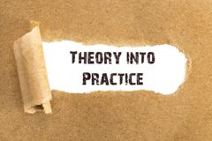 The text Theory into Practice appearing behind torn brown paper.  royalty free stock images