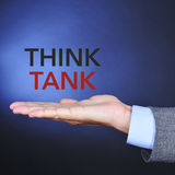 Text think tank in the hand of a man Royalty Free Stock Photography
