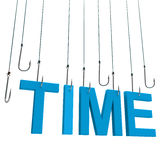 Text Time  hanging on a fishing hook. Isolated over white Stock Photography
