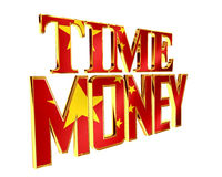 Text time is money on a white background. 3d illustration. Text time is money on a white background Stock Photo