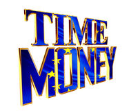 Text time is money on a white background. 3d illustration. Text time is money on a white background Royalty Free Stock Photos