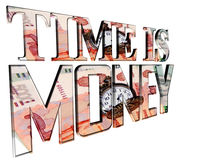 Text time is money on a white background. 3d illustration. Text time is money on a white background Stock Image