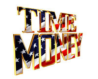 Text time is money on a white background. 3d illustration. Text time is money on a white background Royalty Free Stock Photo