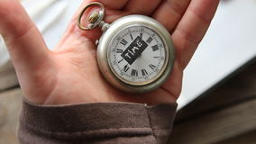 Text time and pocket watch stock video