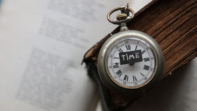 Text time and pocket watch stock footage