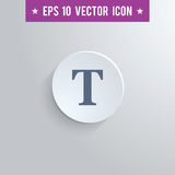 Text tool symbol icon on gray shaded background. Stylish text tool icon. Blue colored symbol on a white circle with shadow on a gray background. EPS10 with Royalty Free Stock Photography