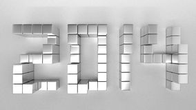 TEXT2014Top. The cubic metal to be new year 2014 vector illustration
