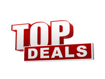 Top deals red white banner - letters and block Stock Photo