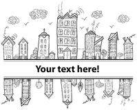 Text town frame. Text town frame for coloring book in doodle style. Hand draw Royalty Free Stock Photography