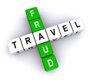 Travel and fraud. Text 'travel and fraud' in uppercase letters arranged crossword style with common letter 'a', white background stock illustration