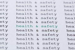 Text/typed phrase Health & Safety Royalty Free Stock Photo