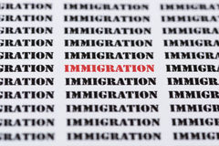 Text/typed word IMMIGRATION. The word IMMIGRATION highlighted in red amongst similar black text stock photography