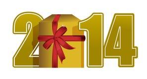Text und Geschenk des neuen Jahres 2014 Stockfoto