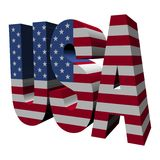 Text USA-3d mit amerikanischer Flagge Stockfotos