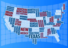 Text USA map Royalty Free Stock Image