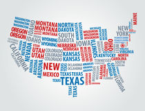 Text USA map Royalty Free Stock Photos