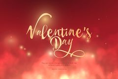 Text Valentine`s Day golden color in the clouds.Low poly wireframe art on red background.Concept for holiday or magic or miracle. Text Valentine`s Day golden vector illustration