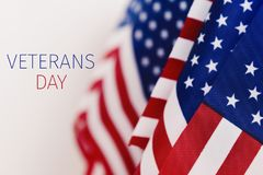 Text veterans day and american flags Royalty Free Stock Photography