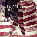 Text veterans day and flag of the US, double exposure Stock Image