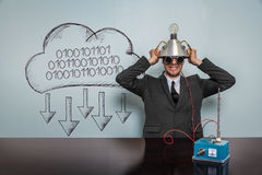 1001011010 text with vintage businessman. And machine at office Stock Photo