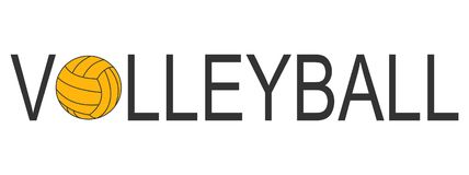 Text Volleyball logo with ball yellow royalty free stock photo