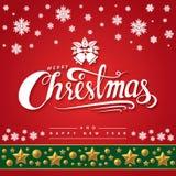 Text von frohen Weihnachten auf rotem Hintergrund stockfoto