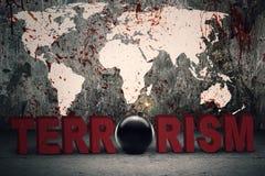 Text von Terrorismus mit blutiger Karte lizenzfreie stockfotografie