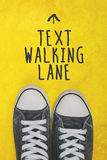 Text walking lane, casual sneakers top view Stock Image