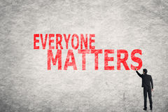 Text on wall, Everyone Matters royalty free stock image