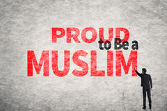 Text on wall, Proud to Be A Muslim Stock Image