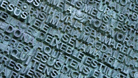 Text wall at sagrada familia. Text on a wall in the Sagrada Familia church, Barcelona, Spain, July 2016 Royalty Free Stock Images