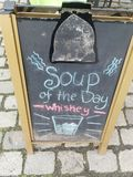 Funny Sign: Soup of the day Whiskey royalty free stock photo