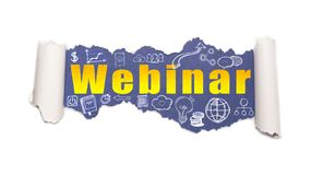 The text webinar behind torn white paper. The text webinar with business and web icons behind torn white paper stock image