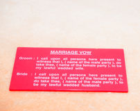 Text of the wedding vow between the bride and groom Stock Photo