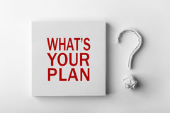 Text What is your plan and Question Mark Stock Image