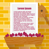 Text Window Frame on a Spring Brick Wall with Flower Bed, Vector Background Stock Image