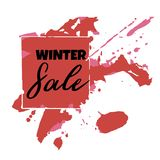 Text Winter Sale, discount banners.Grunge elements, ink drops, a. Bstract background. Vector illustration Stock Illustration