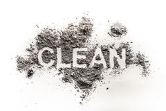 The text word clean written in dirt, filth, dust as hygiene, tra Stock Images