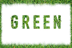 Text word GREEN from green grass isolated Royalty Free Stock Images